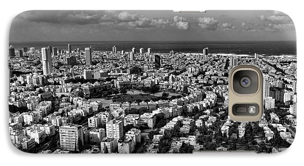 Galaxy Case featuring the photograph Tel Aviv Center Black And White by Ron Shoshani