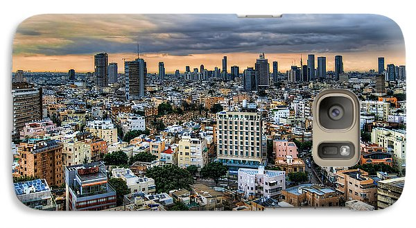 Galaxy Case featuring the photograph Tel Aviv Skyline Winter Time by Ron Shoshani