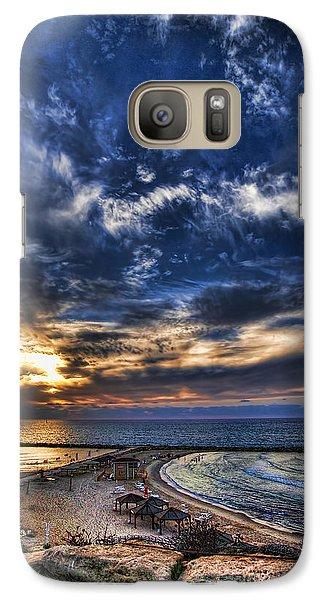 Galaxy Case featuring the photograph Tel Aviv Sunset At Hilton Beach by Ron Shoshani