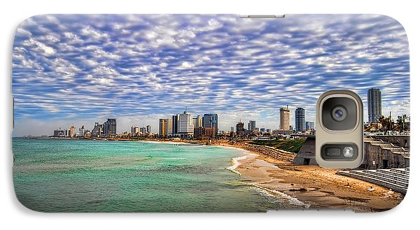 Galaxy Case featuring the photograph Tel Aviv Turquoise Sea At Springtime by Ron Shoshani