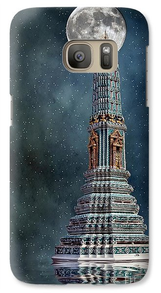 Galaxy Case featuring the photograph Temple Moon by Shirley Mangini