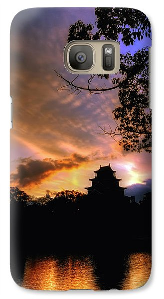 Galaxy Case featuring the photograph A Temple Sunset Japan by John Swartz