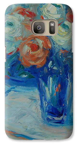 Galaxy Case featuring the painting Ten White And Orange Roses by Thomas Bertram POOLE