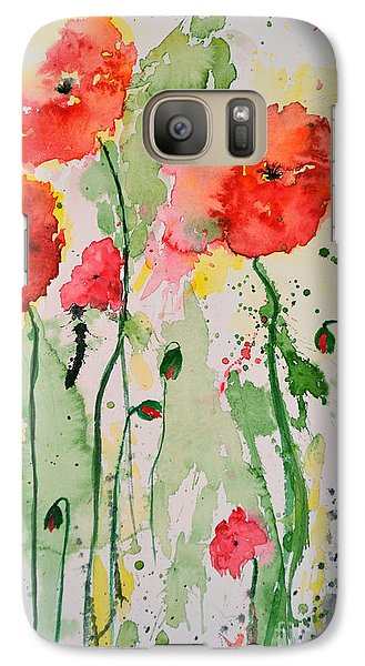 Galaxy Case featuring the painting Tender Poppies - Flower by Ismeta Gruenwald