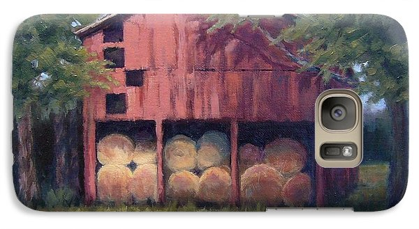 Galaxy Case featuring the painting Tennessee Barn With Hay Bales by Janet King