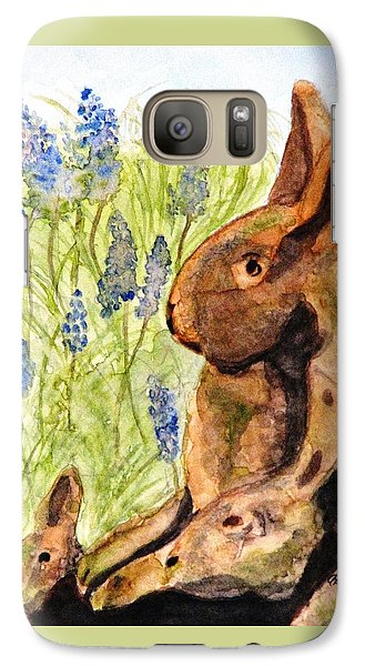 Galaxy Case featuring the painting Terra Cotta Bunny Family by Angela Davies