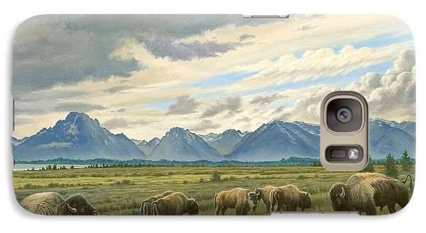 Buffalo Galaxy S7 Case - Tetons-buffalo  by Paul Krapf