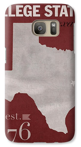 Texas A And M University Aggies College Station College Town State Map Poster Series No 106 Galaxy S7 Case