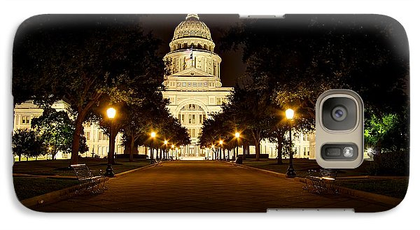Galaxy Case featuring the photograph Texas Capitol At Night by Dave Files