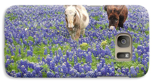 Galaxy Case featuring the photograph Texas Donkeys And Bluebonnets - Texas Wildflowers Landscape by Jon Holiday