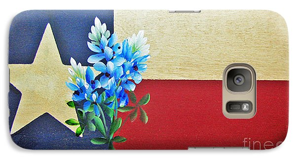 Galaxy Case featuring the painting Texas Flag With Bluebonnets by Jimmie Bartlett