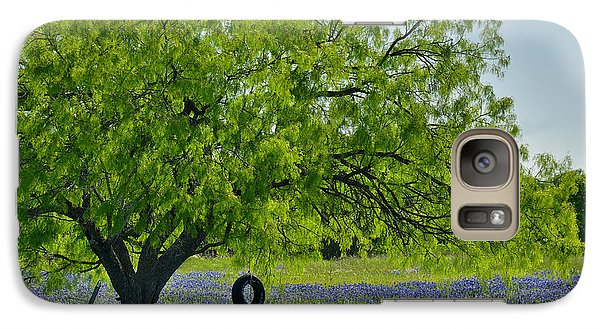 Galaxy Case featuring the photograph Texas Life - Bluebonnet Wildflowers Landscape Tire Swing by Jon Holiday