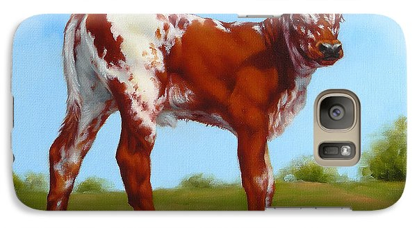 Galaxy Case featuring the painting Texas Longhorn New Calf by Margaret Stockdale