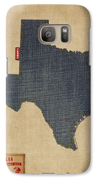 Austin Galaxy S7 Case - Texas Map Denim Jeans Style by Michael Tompsett
