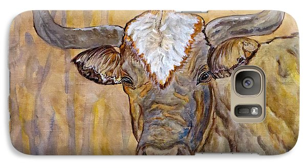 Galaxy Case featuring the painting Texas O Texas Longhorn by Ella Kaye Dickey