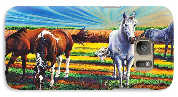Galaxy Case featuring the painting Texas Quarter Horses by Greg Skrtic