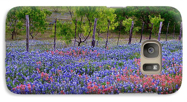 Galaxy Case featuring the photograph Texas Roadside Heaven -bluebonnets Paintbrush Wildflowers Landscape by Jon Holiday