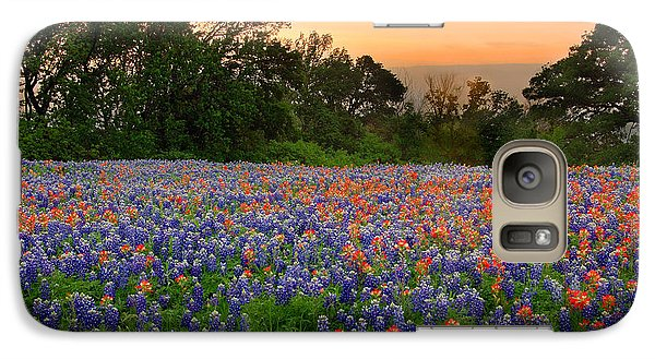Galaxy Case featuring the photograph Texas Sunset - Bluebonnet Landscape Wildflowers by Jon Holiday
