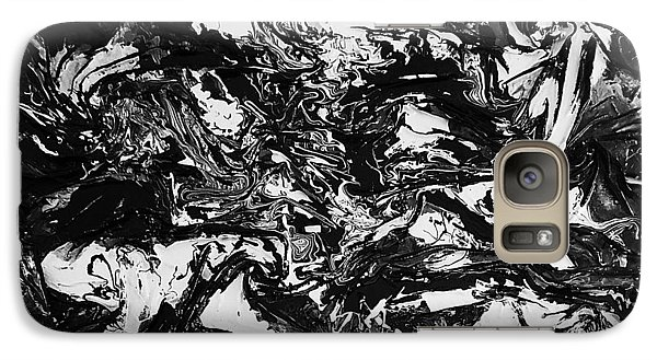 Galaxy Case featuring the mixed media Textured Black And White by Angela Stout