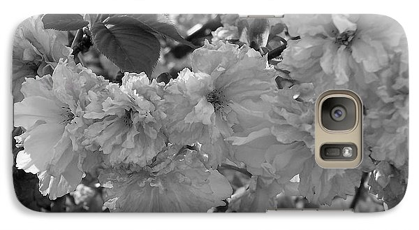 Galaxy Case featuring the photograph Textured Black And White Cherry Blossoms by Gena Weiser