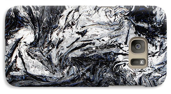 Galaxy Case featuring the mixed media Textured Black And White Series 1 by Angela Stout