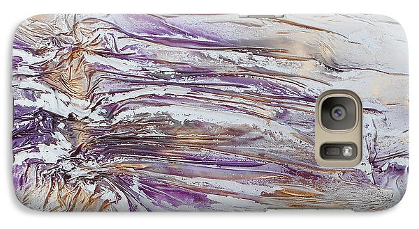 Galaxy Case featuring the mixed media Textured Purple And Gold Series 3 by Angela Stout