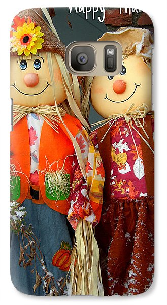 Galaxy Case featuring the photograph Thanksgiving Scarecrows Card by Heidi Manly