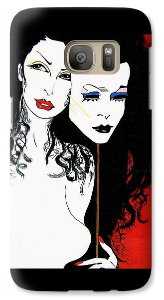 Galaxy Case featuring the painting The 2 Face Girl by Nora Shepley