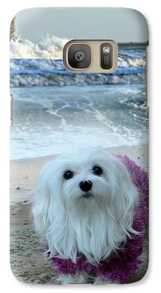 Galaxy Case featuring the mixed media The Beach In Winter by Morag Bates