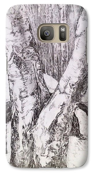 Galaxy Case featuring the drawing The Birches by Iya Carson