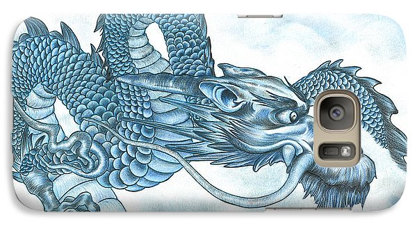 Galaxy Case featuring the drawing The Blue Dragon by Troy Levesque