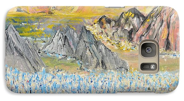 Galaxy Case featuring the painting The Blue Field by Evelina Popilian