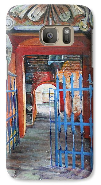 Galaxy Case featuring the painting The Blue Gate by Marina Gnetetsky