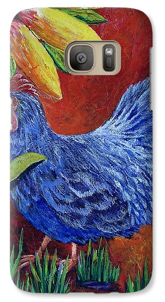 Galaxy Case featuring the painting The Blue Rooster by Suzanne Theis