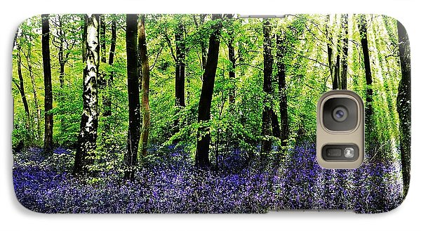 Galaxy Case featuring the mixed media The Bluebell Woods by Morag Bates