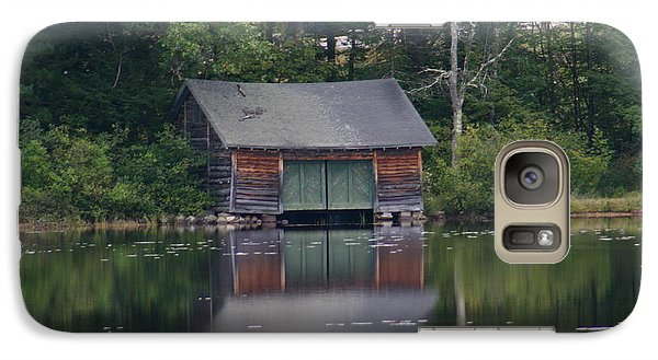 Galaxy Case featuring the photograph The Boat House On Mt Chocorua Lake by Denyse Duhaime