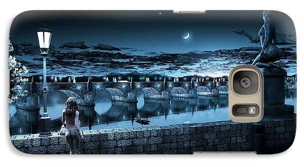 Galaxy Case featuring the digital art The Bridge Of Yesterday by Shinji K