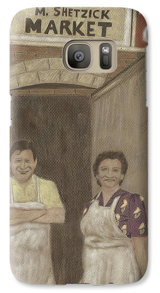 Galaxy Case featuring the drawing The Butcher And His Wife  by Arlene Crafton