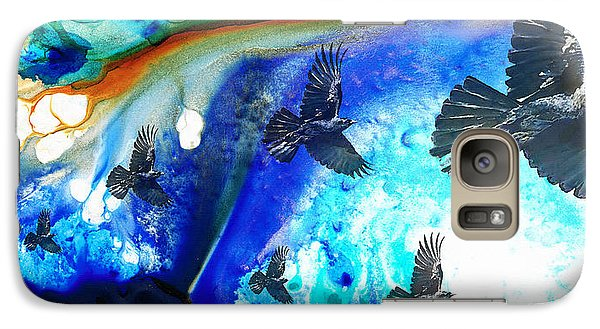 The Calling - Raven Crow Art By Sharon Cummings Galaxy Case by Sharon Cummings