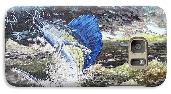 Galaxy Case featuring the painting The Calm The Crazy The Sailfish by Kevin F Heuman