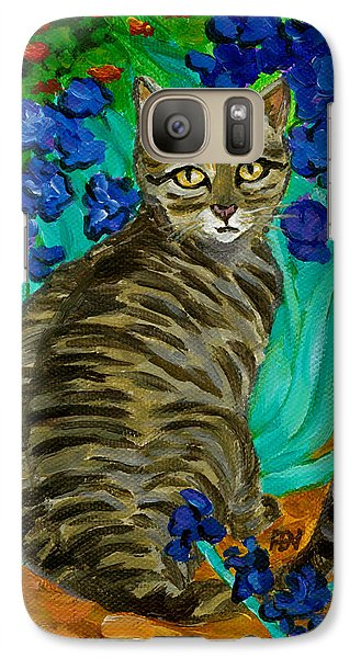 Galaxy Case featuring the painting The Cat At Van Gogh's Irises Garden by Jingfen Hwu