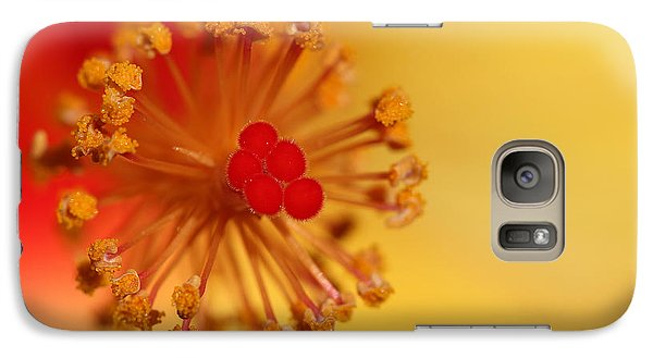 Galaxy Case featuring the photograph The Center Of The Hibiscus Flower by Debbie Oppermann