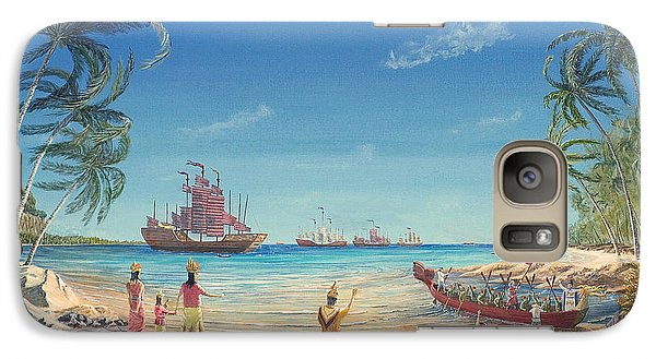 Galaxy Case featuring the painting The Chinese Treasure Fleet Arrives by Anthony Lyon