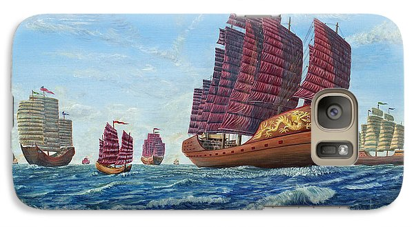 Galaxy Case featuring the painting The Chinese Treasure Fleet Sets Sail by Anthony Lyon