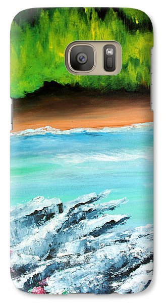 Galaxy Case featuring the painting The Cliff by Ellen Canfield