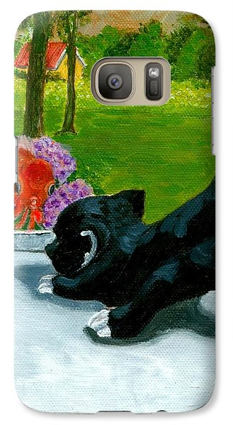 Galaxy Case featuring the painting The Close Encounter Of A Cat And Fish by Jingfen Hwu