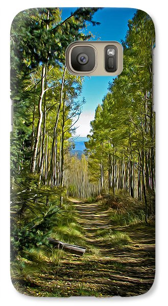 Galaxy Case featuring the painting The Cool Path Through Arizona Aspens by John Haldane