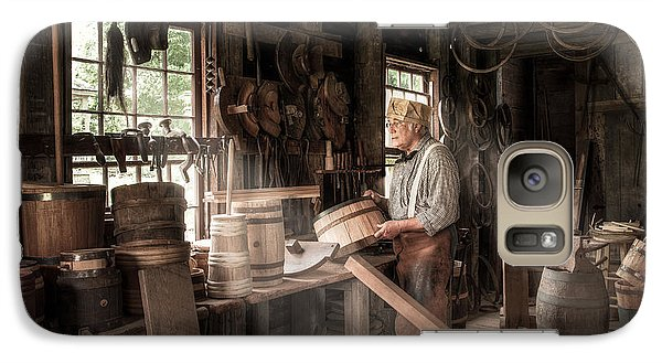 Galaxy Case featuring the photograph The Cooper - 19th Century Artisan In His Workshop  by Gary Heller