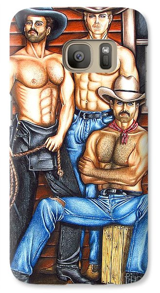 Galaxy Case featuring the drawing The Cowboy Way by Joseph Sonday