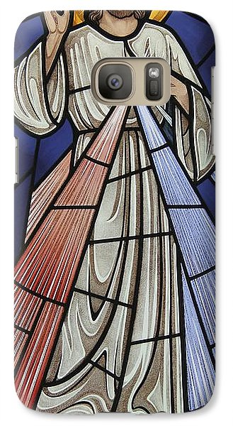 Galaxy Case featuring the glass art The Divine Mercy by Gilroy Stained Glass